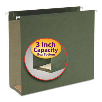 Smead® Three Inch Capacity Box Bottom Hanging File Folders, Letter, Green, 25/Box