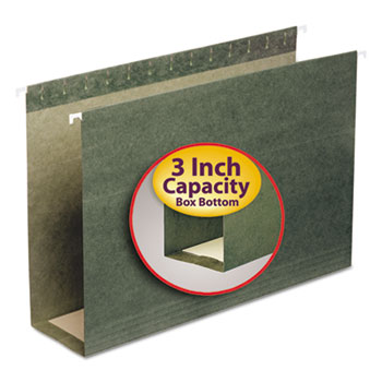 Smead® Three Inch Capacity Box Bottom Hanging File Folders, Legal, Green, 25/Box