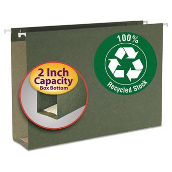 Smead Two Inch Capacity Box Bottom Hanging File Folders, Legal, Std Green, 25/Box