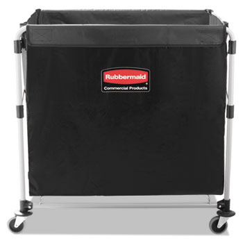 Rubbermaid® Commercial Collapsible X-Cart, Steel, Eight Bushel Cart, 24 1/10w x 35 7/10d, Black/Silver