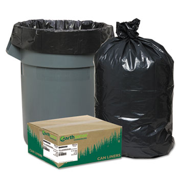 Recycled Can Liners, 55-60gal, 1.25mil, 38 x 58, Black, 100/Carton