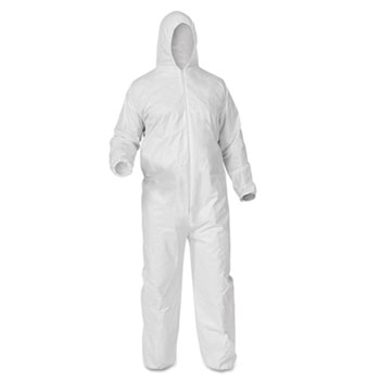 KleenGuard™ A35 Coveralls, Hooded, 2XL, White, 25/Carton