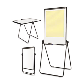 MasterVision® Folds-to-a-Table Melamine Easel, 28 1/2 x 37 1/2, White, Steel/Laminate