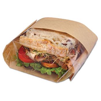 Bagcraft Dubl View Sandwich Bags, 9 1/2 x 5 3/4 x 2 3/4, Natural Brown, 500/Carton
