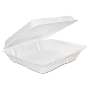Dart® Foam Hinged Lid Containers, 8 x 8 x 2 1/4, White, 200/Carton