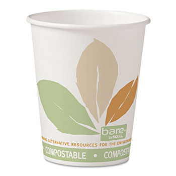 SOLO® Cup Company Bare PLA Paper Hot Cups, 10oz, White w/Leaf Design, 50/Bag, 20 Bags/Carton