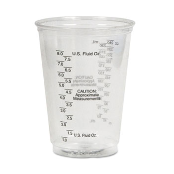 SOLO® Cup Company Plastic Medical & Dental Cups, Graduated, 10 oz, Clear, 50/Bag, 20 Bags/Carton