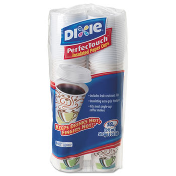 Dixie® PerfecTouch® Combo Bag, Paper Hot Cups w/Lids, 10 oz., 50/PK