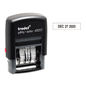 Trodat Economy Stamp, Dater, Self-Inking, 1 5/8 x 3/8, Black