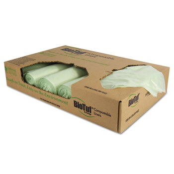 Biotuf Compostable Can Liners, 48 gal, 1 mil, 48 x 42, Green