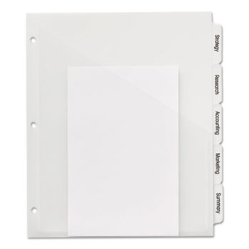 Avery® Print & Apply Clear Label Translucent Plastic Dividers with Clear Pockets, Index Maker® Easy Apply™ Printable Label Strip, 5/ST