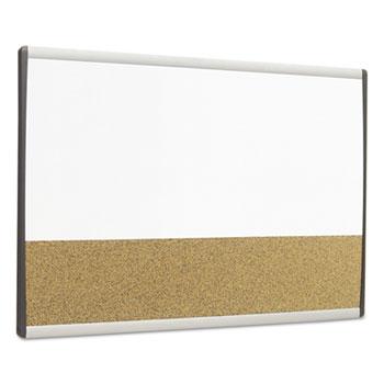 Quartet® Magnetic Dry-Erase/Cork Board, 18 x 30, White Surface, Silver Aluminum Frame
