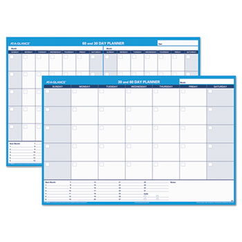 "AT-A-GLANCE® 30/60-Day Undated Horizontal Erasable Wall Planner, 48"" x 32"", White/Blue"