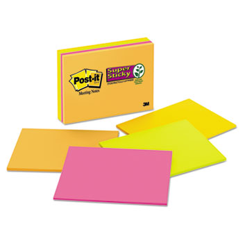 Post-it® Notes Super Sticky, Meeting Notes in Rio de Janeiro Colors, 8 x 6, 45-Sheet, 4/Pack