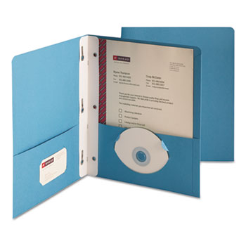 "Smead® Heavyweight 2-Pocket Folder w/Tang Fastener, Letter, 1/2"" Cap, Blue, 25/Box"