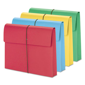 """2"""" Exp Wallet, Elastic Cord, Letter, Blue/Green/Red/Yellow, 50/Box"""