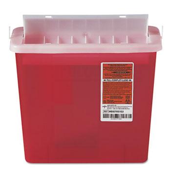 Medline Sharps Container for Patient Room, Plastic, 5qt, Rectangular, Red