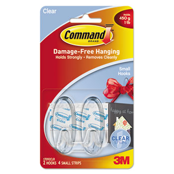 Command™ Clear Hooks & Strips, Plastic, Small, 2 Hooks & 4 Strips/Pack