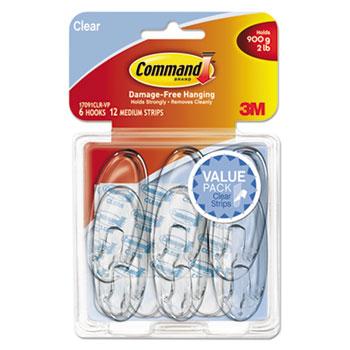 Command™ Clear Hooks & Strips, Plastic, Medium, 6 Hooks & 12 Strips/Pack