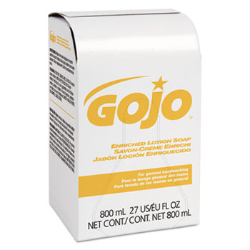GOJO® Enriched Lotion Soap Bag-in-Box Refill, Herbal Floral, 800mL, 12/CT