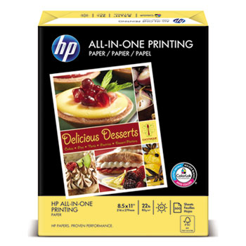 HP All-In-One Printing Paper, 97 Bright, 22lb, Letter, White, 500 Sheets/Ream