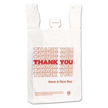 "Barnes Paper Company Plastic Thank You T-Sacks, 6"" x 4"" x 15"", 2 Mil, White, 2000/CT"