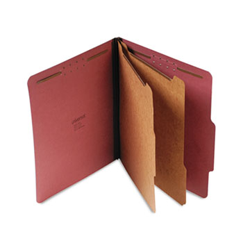 Universal Six--Section Pressboard Classification Folders, 2 Dividers, Letter Size, Red, 10/Box