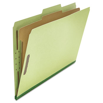 Universal® Four-Section Pressboard Classification Folders, 1 Divider, Legal Size, Green, 10/Box
