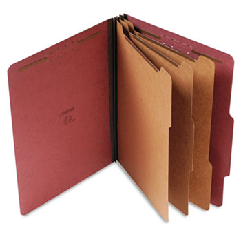 Universal Eight-Section Pressboard Classification Folders, 3 Dividers, Letter Size, Red, 10/Box