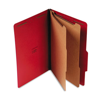 Bright Colored Pressboard Classification Folders, 2 Dividers, Legal Size, Ruby Red, 10/Box