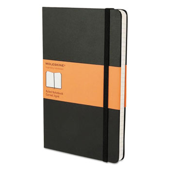 Moleskine® Hard Cover Notebook, Ruled, 8 1/4 x 5, Black Cover, 192 Sheets