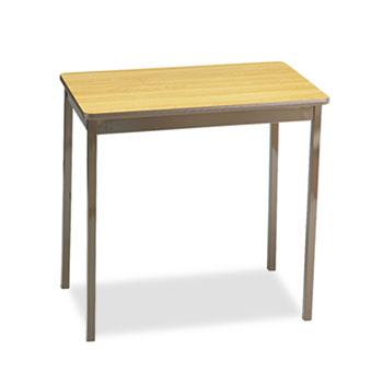 Barricks Utility Table, Rectangular, 30w x 18d x 30h, Oak/Brown