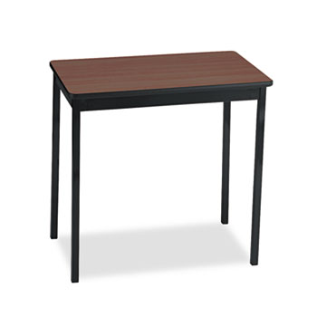 Barricks Utility Table, Rectangular, 30w x 18d x 30h, Walnut/Black