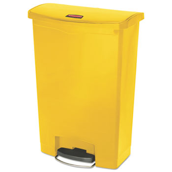 Rubbermaid® Commercial Slim Jim Resin Step-On Container, Front Step Style, 24 gal, Yellow