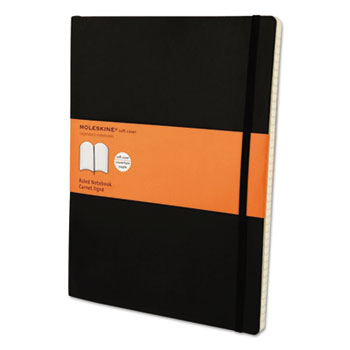 Moleskine® Classic Softcover Notebook, Ruled, 10 x 7 1/2, Black Cover, 192 Sheets