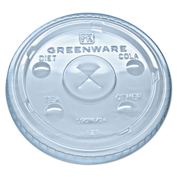 Fabri-Kal® Greenware Cold Drink Lids, Fits 16-18, 24 oz. Cups, X-Slot, Clear, 1000/CT