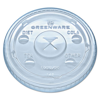 Fabri-Kal® Greenware Cold Drink Lids, Fits 9, 12, 20 oz. Cups, Clear, 1000/CT