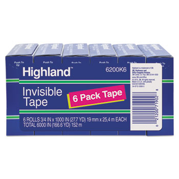 "Invisible Permanent Mending Tape, 3/4"" x 1000"", 1"" Core, Clear, 6/PK"