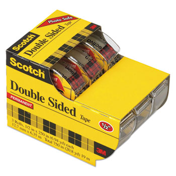 """665 Double-Sided Permanent Tape in Hand Dispenser, 1/2"""" x 250"""", Clear, 3/Pack"""