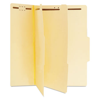 Six-Section Classification Folders, 2 Dividers, Letter Size, Manila, 15/Box