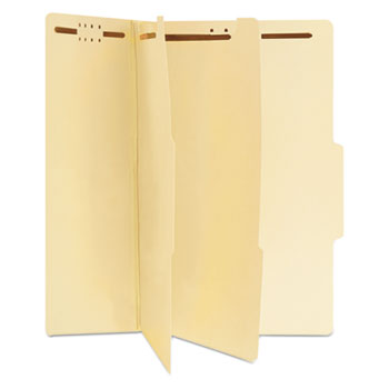 Six-Section Classification Folders, 2 Dividers, Legal Size, Manila, 15/Box
