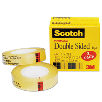 "Scotch™ 665 Double-Sided Tape, 1/2"" x 900"", 1"" Core, Clear, 2/Pack"