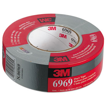 """Extra-Heavy-Duty Duct Tape, 48mm x 54.8m, 3"""" Core, Silver"""