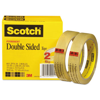 """Double-Sided Tape, 3/4"""" x 1296"""", 3"""" Core, Transparent, 2/Pack"""