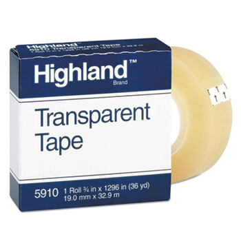 "Highland™ Transparent Tape, 3/4"" x 1296"", 1"" Core, Clear, DZ"
