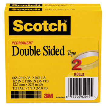 """Scotch™ 665 Double-Sided Tape, 1/2"""" x 1296"""", 3"""" Core, Transparent, 2/Pack"""