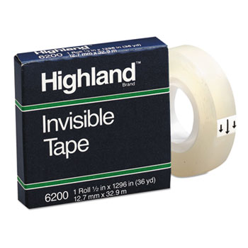 """Invisible Permanent Mending Tape, 1/2"""" x 1296"""", 1"""" Core, Clear"""