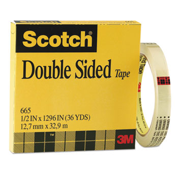 """Double-Sided Tape, 1/2"""" x 1296"""", 3"""" Core, Clear"""