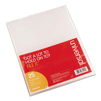 Universal® Project Folders, Letter Size, Clear, 25/Pack