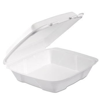 Dart® Foam Hinged Lid Container, 1-Comp, 9 x 9 2/5 x 3, White, 100/Bag, 2 Bag/Carton